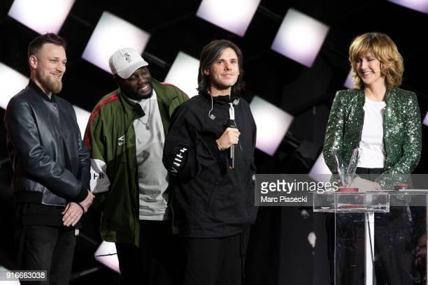 Rapper Aurelien Cotentin aka 'Orelsan' receives an award during the 33rd Victoires de la Musique 2018 at La Seine Musicale on February 9 2018 in...