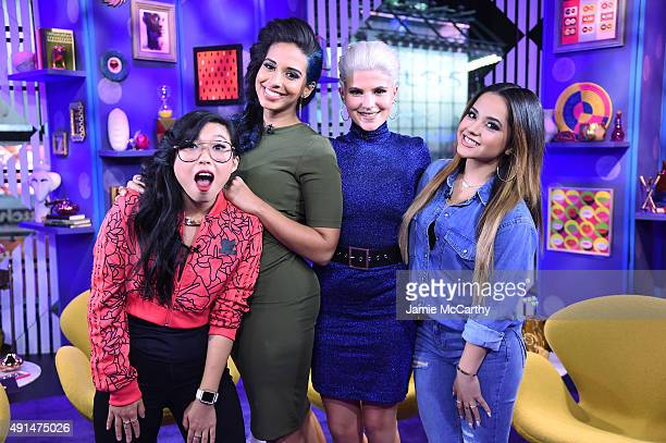 Rapper Awkwafina TV personality Nessa comedian Carly Aquilino and singersongwriter Becky G perform on MTV's Girl Code Live at MTV Studios on October...