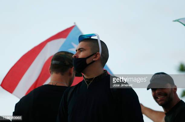 Rapper Bad Bunny and artist Ricky Martin joined thousands of demonstrators protesting against Ricardo Rossello the Governor of Puerto Rico July 17...
