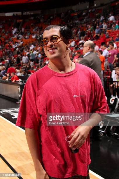 Rapper Bad Bunny attends a game between the Milwaukee Bucks and Miami Heat on March 15 2019 at American Airlines Arena in Miami Florida NOTE TO USER...