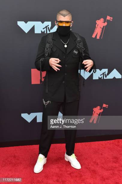 Rapper Bad Bunny attends the 2019 MTV Video Music Awards red carpet at Prudential Center on August 26 2019 in Newark New Jersey