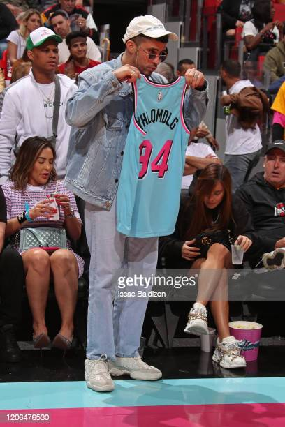 Rapper Bad Bunny attends the game between the Dallas Mavericks and the Miami Heat on February 28 2020 at American Airlines Arena in Miami Florida...