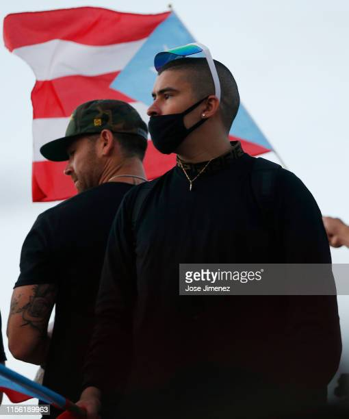 Rapper Bad Bunny joined thousands of demonstrators protesting against Ricardo Rossello the Governor of Puerto Rico July 17 2019 in front of the...