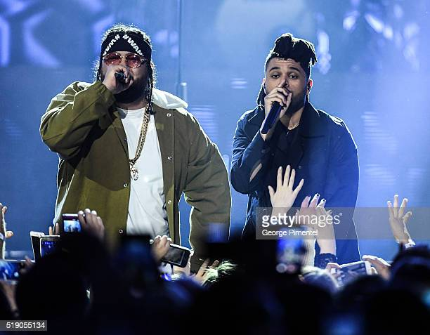 Rapper Belly and The Weeknd perform at the 2016 Juno Awards at Scotiabank Saddledome on April 3 2016 in Calgary Canada