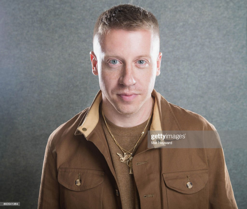 Rapper Ben Haggerty aka Macklemore poses for a portrait in studio at Hot 103.7 the day his new album 'Gemini' is released on September 22, 2017 in Seattle, Washington.