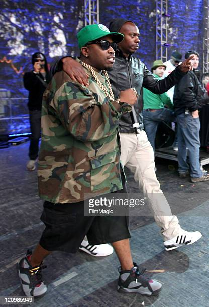 Rapper Big Boi and Comedian Dave Chappelle walk onstage at the Sutro Stage during the 2011 Outside Lands Music and Arts Festival held at Golden Gate...