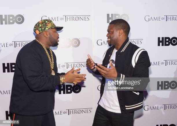 Rapper Big Boi and comedian/actor Kevin Hart arrive at the HBO Game of Thrones Catch the Throne NBA AllStar Event at Republic on February 16 2014 in...