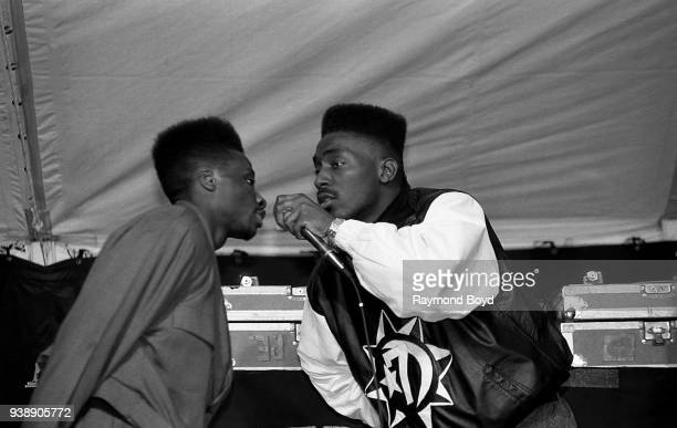 Rapper Big Daddy Kane and dancer Scrap Lover performs at Mosque Maryam in Chicago, Illinois in February 1989.