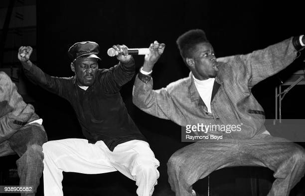 Rapper Big Daddy Kane and dancer Scrap Lover performs at the U.I.C. Pavilion in Chicago, Illinois in November 1989.