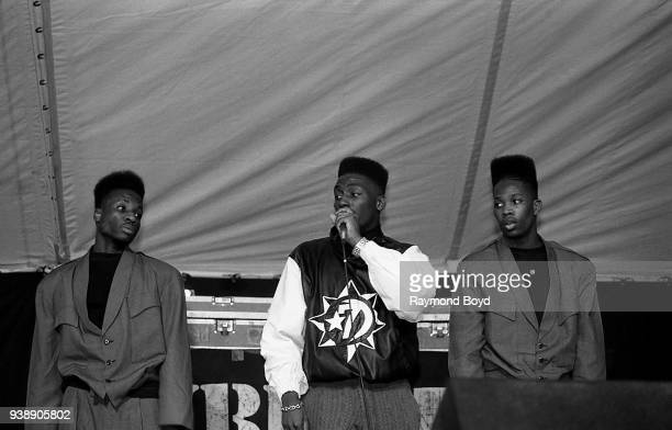 Rapper Big Daddy Kane and dancers Scoob Lover and Scrap Lover performs at Mosque Maryam in Chicago Illinois in February 1989