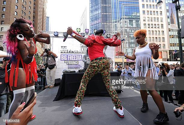 Rapper Big Freedia performs during the Guinness World Record And Big Freedia Twerking Event at Herald Square on September 25 2013 in New York City