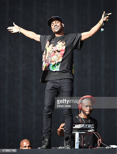 Rapper Big Sean and DJ Mo Beatz perform onstage during Rock in Rio USA at the MGM Resorts Festival Grounds on May 16 2015 in Las Vegas Nevada