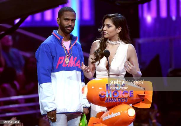 Rapper Big Sean and internet personality Bethany Mota speak onstage at Nickelodeon's 2017 Kids' Choice Awards at USC Galen Center on March 11 2017 in...