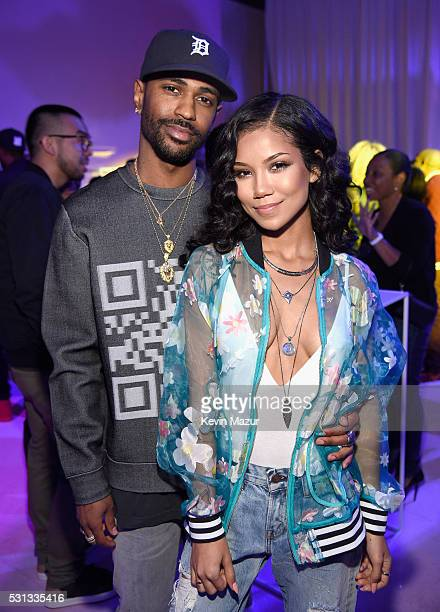 Rapper Big Sean and Jhene Aiko attend adidas Originals Pink Beach Pharrell Williams party on May 13, 2016 in West Hollywood, California.