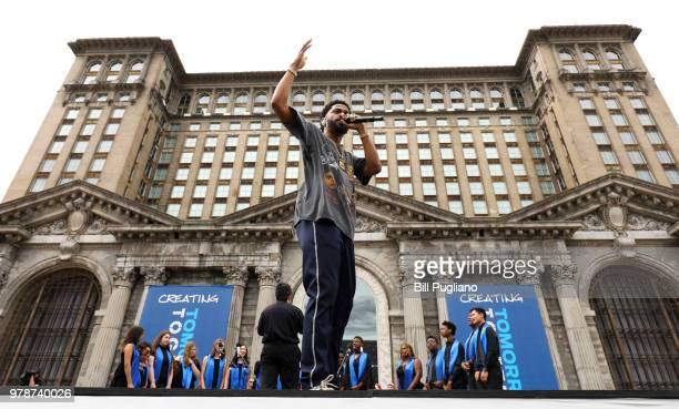 Rapper Big Sean performs at a Ford Motor Company event where Ford announced their plans to renovate the historic, 105-year old Michigan Central train...