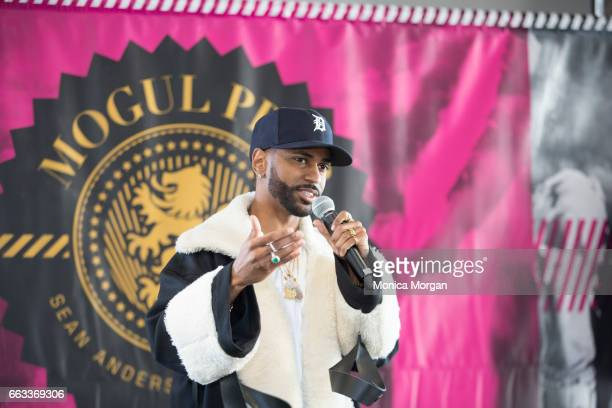 Rapper Big Sean speaks during the Sean Anderson Foundation Mogul Prep Tour at The Madison Building on April 1 2017 in Detroit Michigan