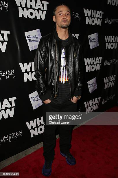 Rapper Bizzy Bone arrives at the What Now premiere at Laemmle Music Hall on March 10 2015 in Beverly Hills California