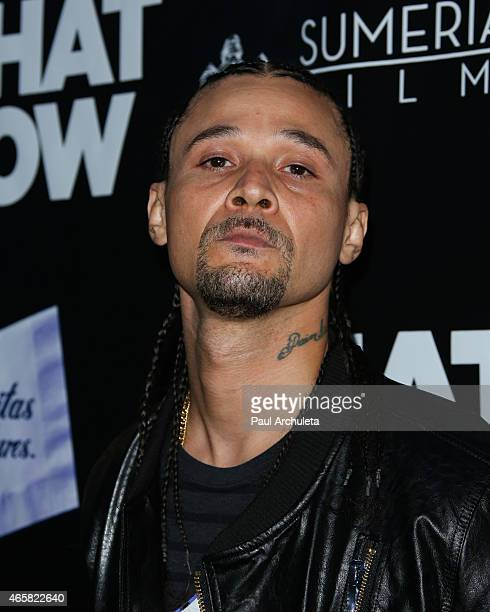 Rapper Bizzy Bone attends the premiere of What Now at The Laemmle Music Hall on March 10 2015 in Beverly Hills California