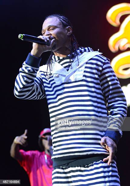 Rapper Bizzy Bone of Bone ThugsNHarmony performs onstage at Irvine Meadows Amphitheatre on July 18 2015 in Irvine California