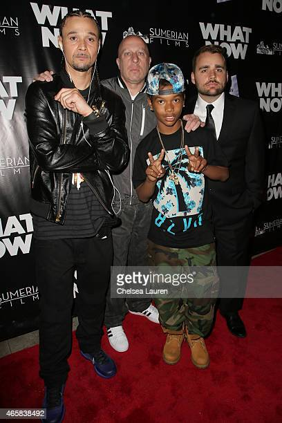 Rapper Bizzy Bone Steve Lobel Kiss and writer / director / actor Ash Avildsen arrive at the What Now premiere at Laemmle Music Hall on March 10 2015...