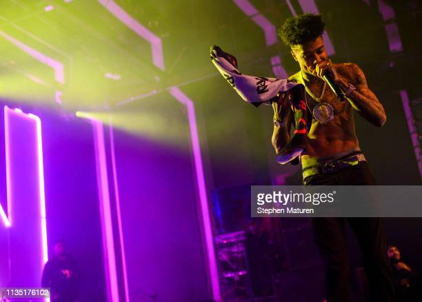 Rapper Blueface performs during Spotify's RapCaviar Live at Varsity Theater on April 5 2019 in Minneapolis Minnesota