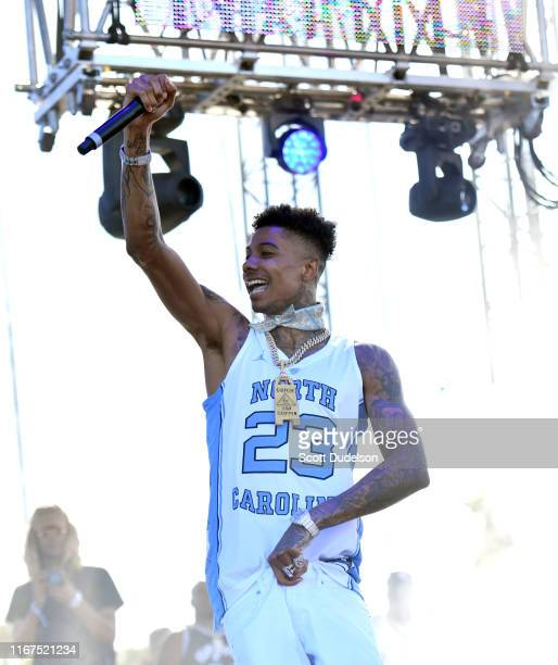 Rapper Blueface performs onstage during the 923 Real Street Festival at Honda Center on August 11 2019 in Anaheim California