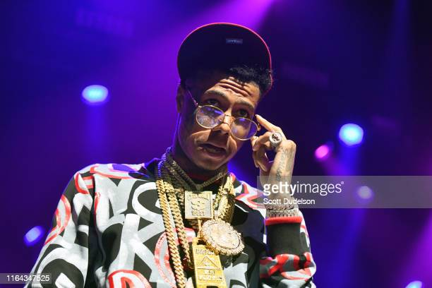 Rapper Blueface performs onstage during the XXL Freshman Concert at The Novo Theater at LA Live on July 25 2019 in Los Angeles California