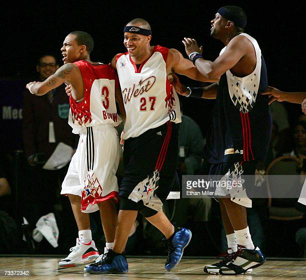 Rapper Bow Wow and actors Donald Faison and Chris Tucker joke around during the McDonald's NBA AllStar Celebrity Game presented by 2K Sports at the...