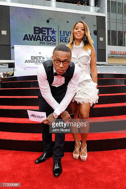 Rapper Bow Wow and TV personality Angela Simmons perform onstage at 106 Park Stage PreShow during the BET Awards at Nokia Theatre LA Live on June 30...