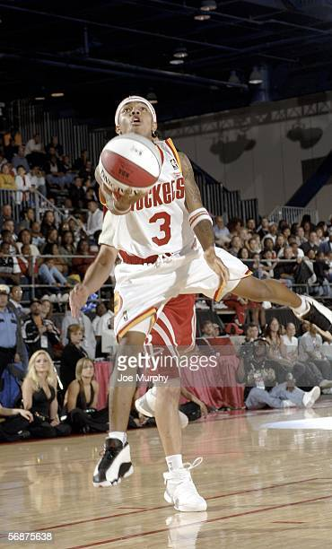 Rapper Bow Wow of the Clutch City team shoots a layup at the McDonald's NBA AllStar Celebrity Game during NBA AllStar Weekend at the George R Brown...