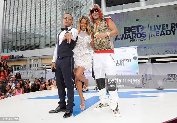 Rapper Bow Wow TV personality Angela Simmons and rapper French Montana attend 106 Park Stage PreShow during the BET Awards at Nokia Theatre LA Live...