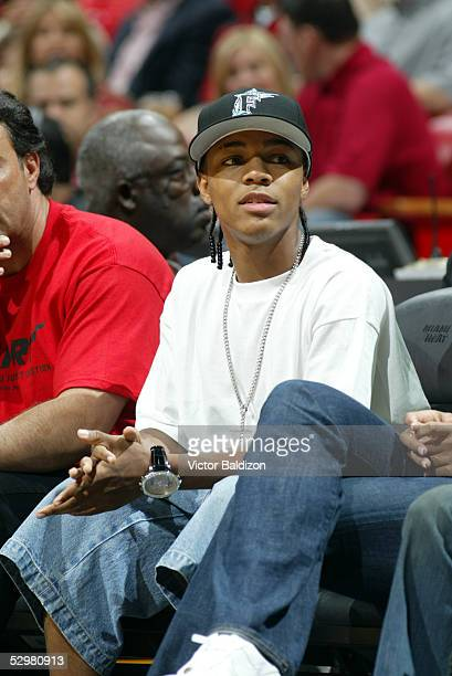 Rapper Bow Wow watches the Miami Heat play against the Detroit Pistons in Game two of the Eastern Conference Finals during the 2005 NBA Playoffs at...