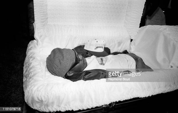 Rapper Bushwick Bill from The Geto Boys is laid out in a casket to promote their cd 'The Ressurrection' at George's Music Room in Chicago Illinois in...