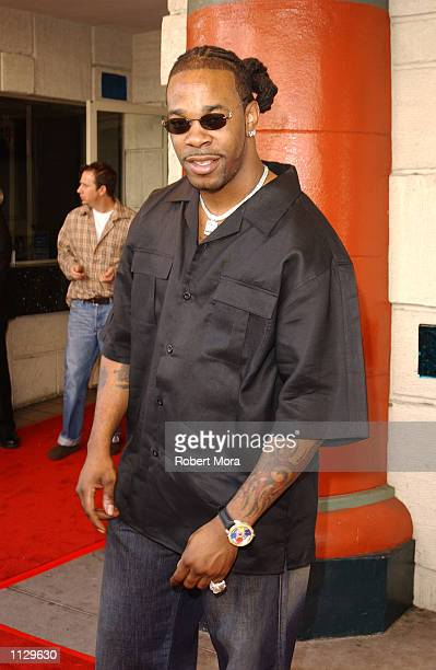 Rapper Busta Rhymes attends the premiere of Halloween Resurrection at the Mann Festival Theater on July 1 2002 in Westwood California The film opens...