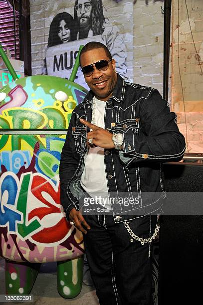 Rapper Busta Rhymes attends the the Launch of Google Music at Mr Brainwash Studio with partner TMobile on November 16 2011 in Los Angeles California