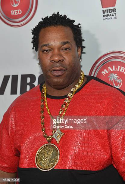 Rapper Busta Rhymes attends the VIBE Impact Awards presented in partnership with Malibu Red at the Carondelet House on January 24 2014 in Los Angeles...