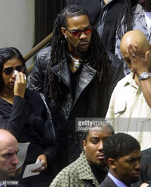 Rapper Busta Rhymes leaves the funeral of the late RB star Aaliyah at St Ignatius Loyola Church in New York on 31 August 2001 Aaliyah died in a plane...
