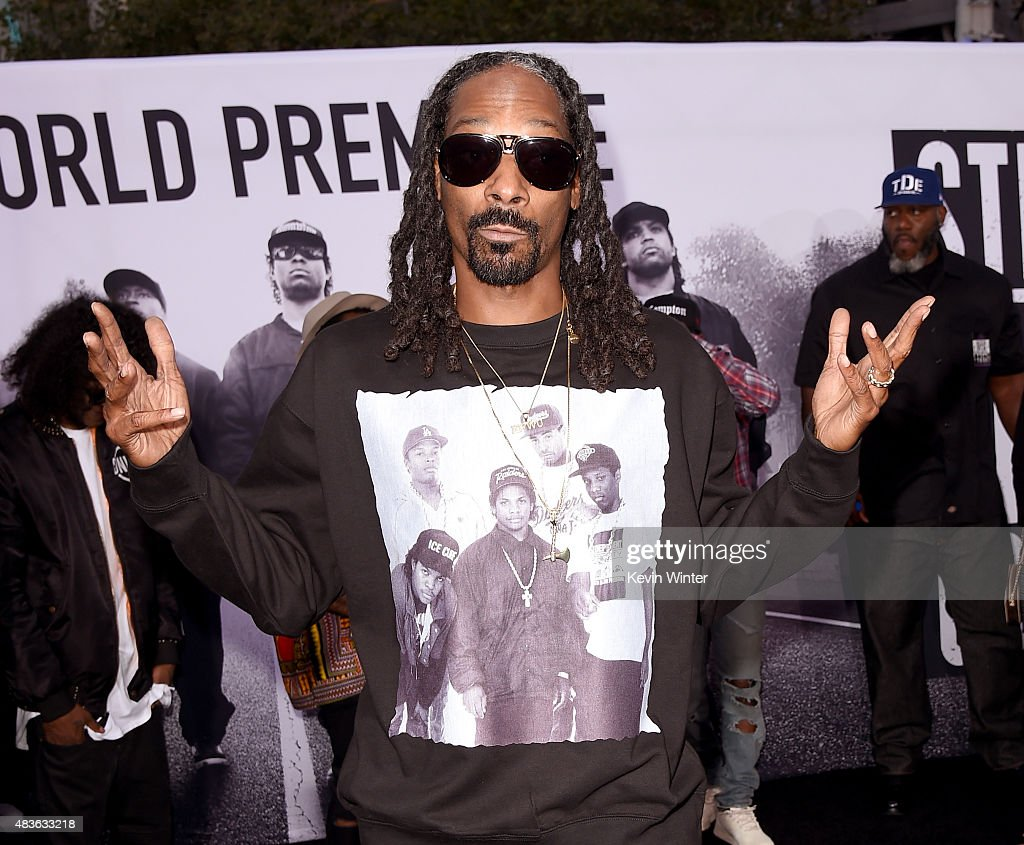 Rapper Calvin Broadus, Jr. aka Snoop Dogg arrives at the premiere of Universal Pictures and Legendary Pictures' 'Straight Outta Compton' at the Microsoft Theatre on August 10, 2015 in Los Angeles, California.
