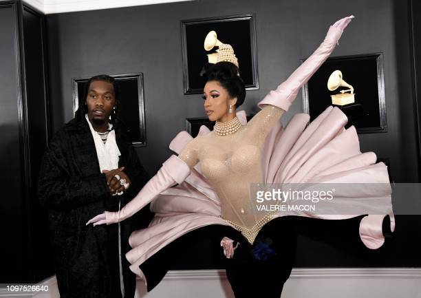 US rapper Cardi B and Offset arrive for the 61st Annual Grammy Awards on February 10 in Los Angeles