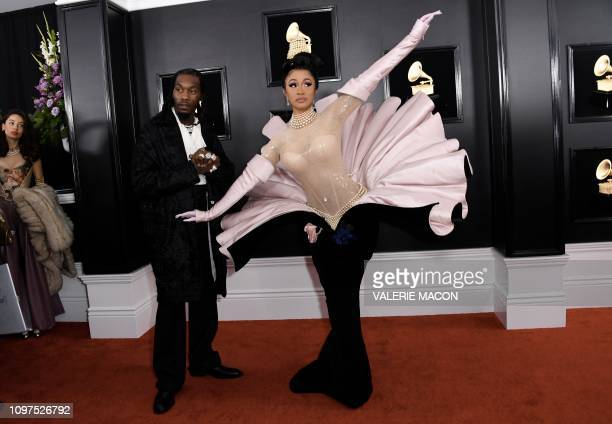 TOPSHOT US rapper Cardi B and Offset arrive for the 61st Annual Grammy Awards on February 10 in Los Angeles