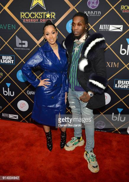 Rapper Cardi B and Offset attend the 2018 Maxim Party cosponsored by blu February 3 2018 in Minneapolis Minnesota