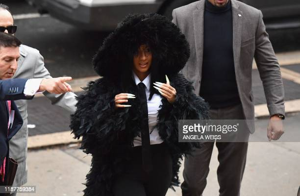 Rapper Cardi B arrives for her court hearing at Queens Criminal Court on December 10 2019 in New York City