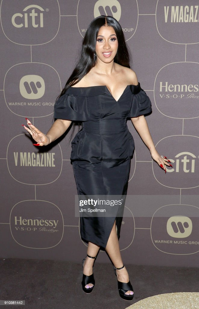 Rapper Cardi B attends the 2018 Warner Music Group Pre- Grammy Celebration at The Grill & The Pool Restaurants on January 25, 2018 in New York City.
