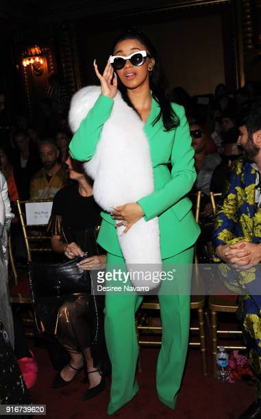Rapper Cardi B attends the Christian Siriano fashion show during New York Fashion Week at the Grand Lodge on February 10 2018 in New York City