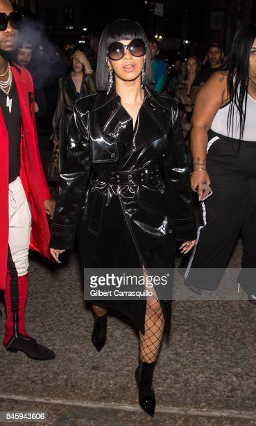 Rapper Cardi B is seen leaving the Helmut Lang Seen By Shayne Oliver fashion show during New York Fashion Week on September 11 2017 in New York City