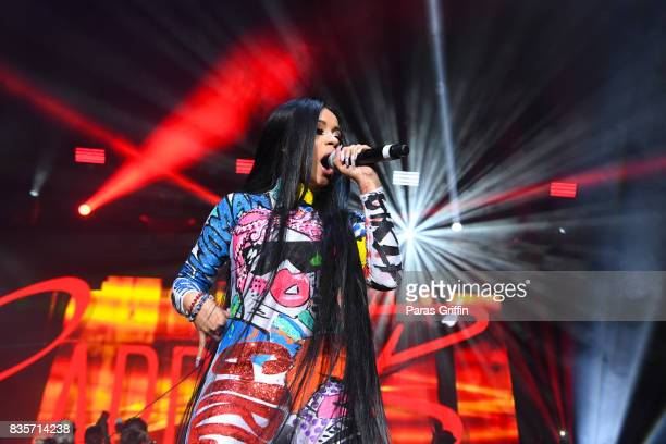 Rapper Cardi B performs onstage at Streetzfest 2K17 at Lakewood Amphitheatre on August 19 2017 in Atlanta Georgia