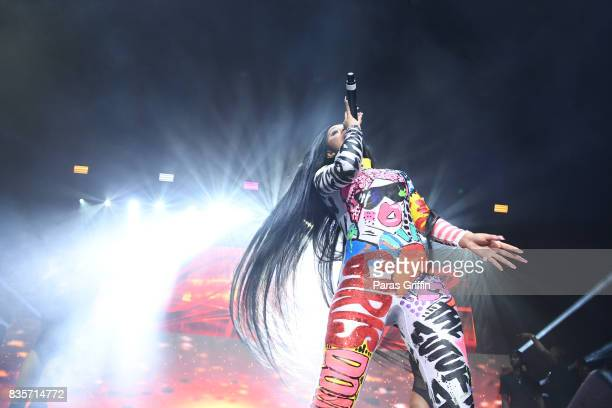 Rapper Cardi B performs onstage at Streetzfest 2K17 at Lakewood Amphitheatre on August 19 2017 in Atlanta Georgia