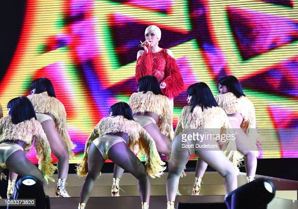 Rapper Cardi B performs onstage during day 2 of Rolling Loud Festival at Banc of California Stadium on December 15 2018 in Los Angeles California