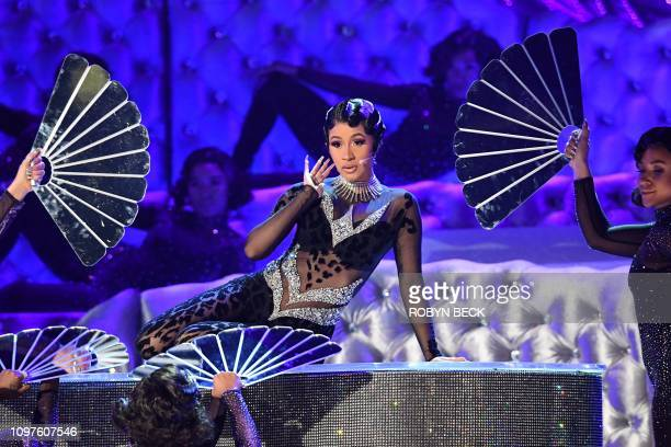 US rapper Cardi B performs onstage during the 61st Annual Grammy Awards on February 10 in Los Angeles