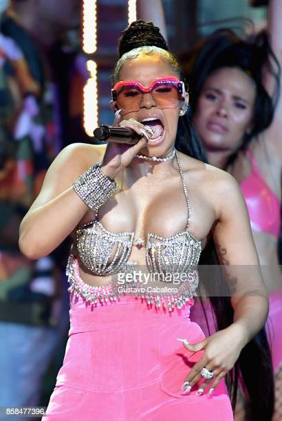 Rapper Cardi B performs onstage during the BET Hip Hop Awards 2017 at The Fillmore Miami Beach at the Jackie Gleason Theater on October 6 2017 in...